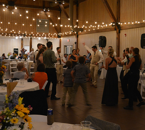 Wedding Reception Catering Red Barn Reception Guests Dancing